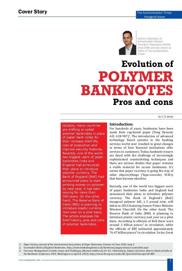 Story Foyer Pros And Cons : Evolution of polymer banknotes pros and cons