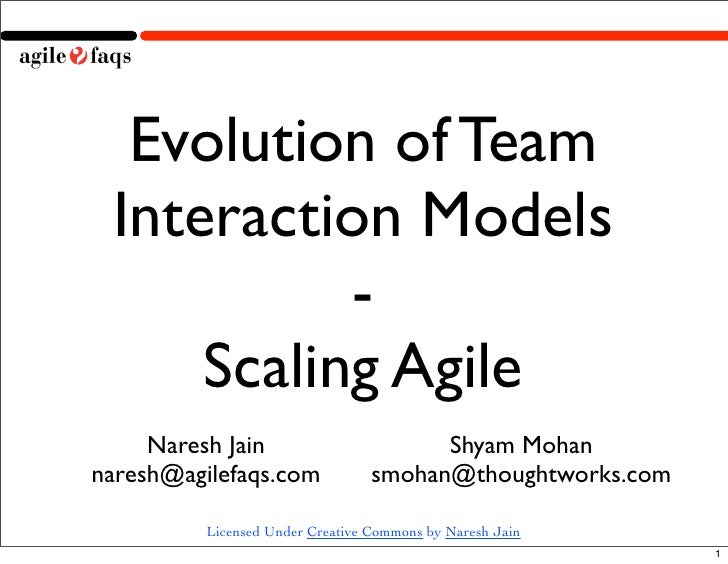 Evolution of Team  Interaction Models            -      Scaling Agile      Naresh Jain                        Shyam Mohan ...