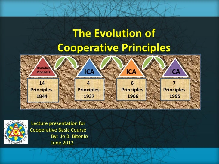 The Evolution of              Cooperative Principles   Rockdale   Pioneers             ICA         ICA           ICA    14...