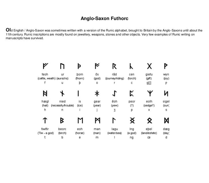 Anglo-Saxon Futhorc<br />Old English / Anglo-Saxon was sometimes written with a version of the Runic alphabet, brought to ...