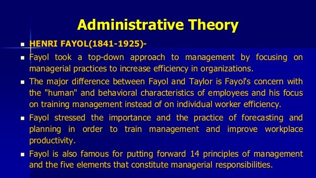 compare contrast the contributions of henri fayol Fayolism was a theory of management that analyzed and synthesized the role of  management in organizations, developed around 1900 by the french  management theorist henri fayol (1841–1925) it was through fayol's work as a  philosopher of administration that he contributed  according to claude george ( 1968), a primary difference between fayol and.