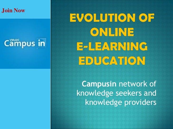 Evolution of online e-learning education