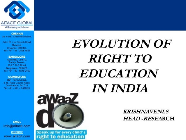 Evolution of right to education