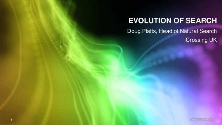 EVOLUTION OF SEARCH<br />Doug Platts, Head of Natural Search<br />iCrossing UK<br />1<br />