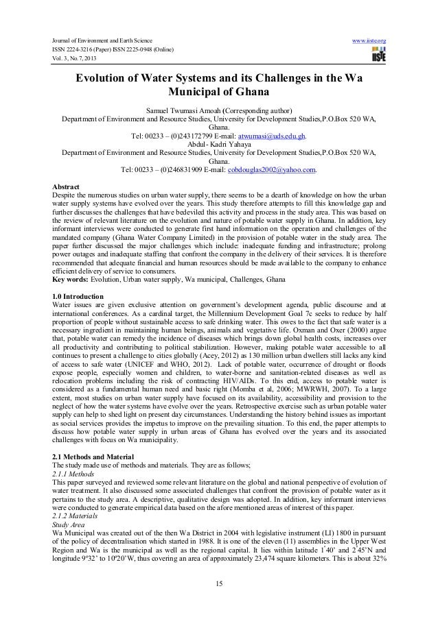 Journal of Environment and Earth Science www.iiste.org ISSN 2224-3216 (Paper) ISSN 2225-0948 (Online) Vol. 3, No.7, 2013 1...