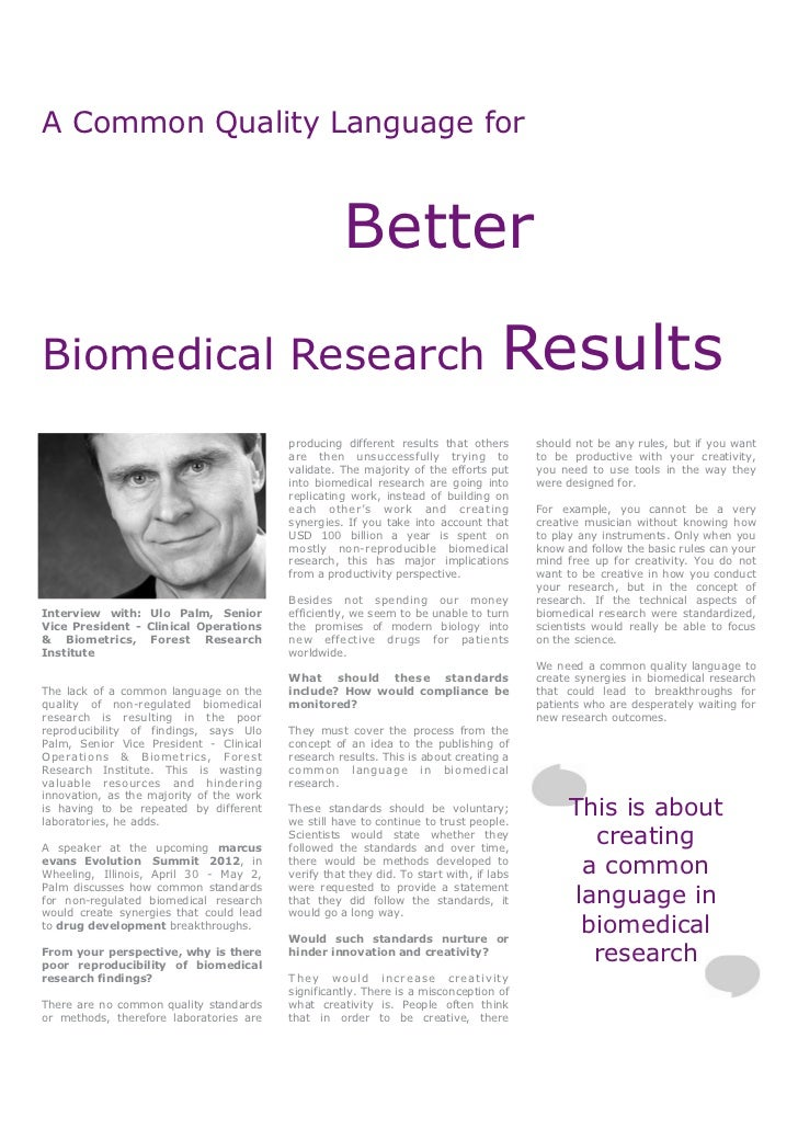 A Common Quality Language for                                                    BetterBiomedical Research                ...