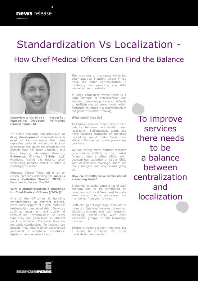 Standardization Vs Localization -  How Chief Medical Officers Can Find the Balance                                        ...