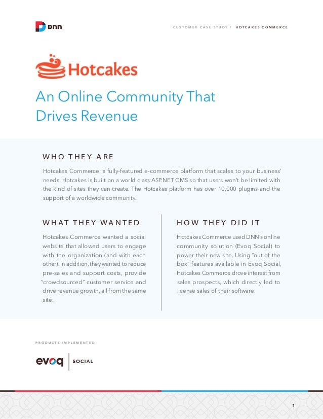 Evoq Social Case Study: Hotcakes Commerce Drives Revenue with an Online Community