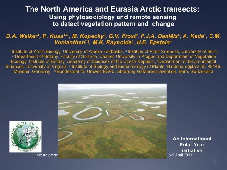 The North America and Eurasia Arctic transects:  Using phytosociology and remote sensing  to detect vegetation pattern and...
