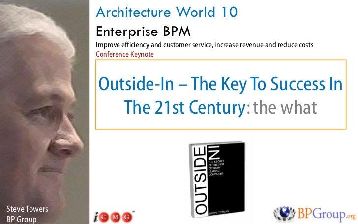 Architecture World 10                Enterprise BPM                Improve efficiency and customer service, increase reven...