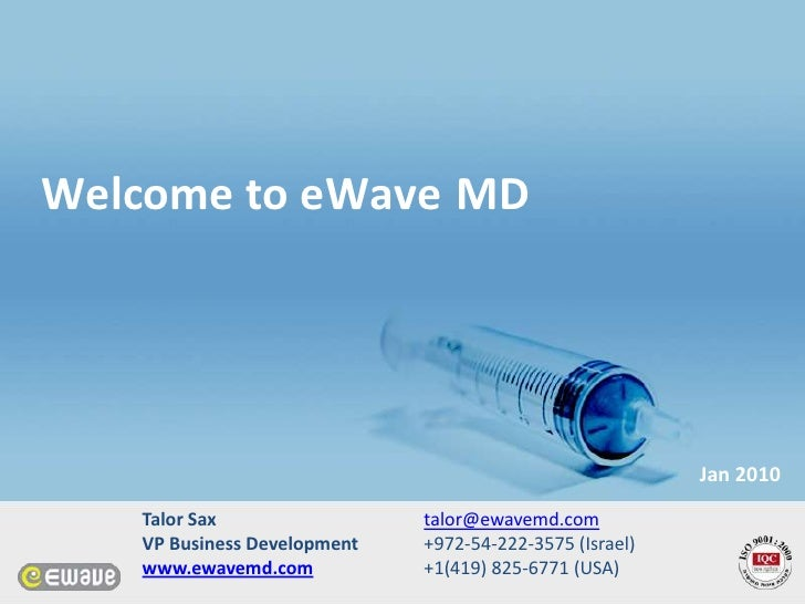 Welcome to eWave MD                                                              Jan 2010    Talor Sax                 tal...