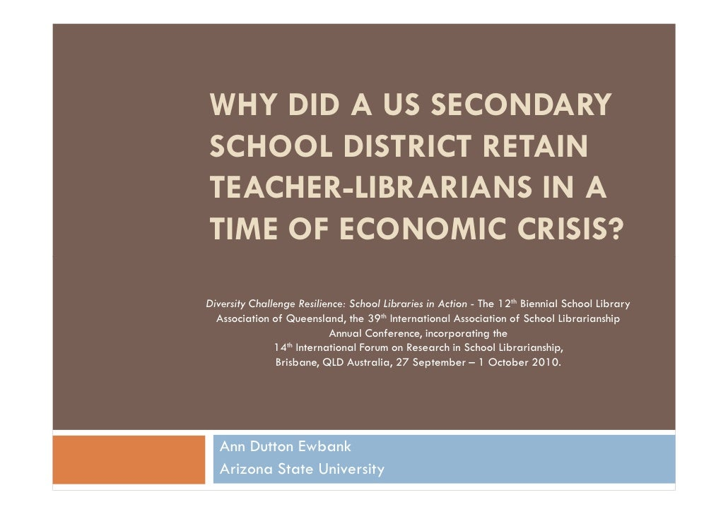 Why did a US secondary school district retain teacher-librarians in a time of economic crisis?