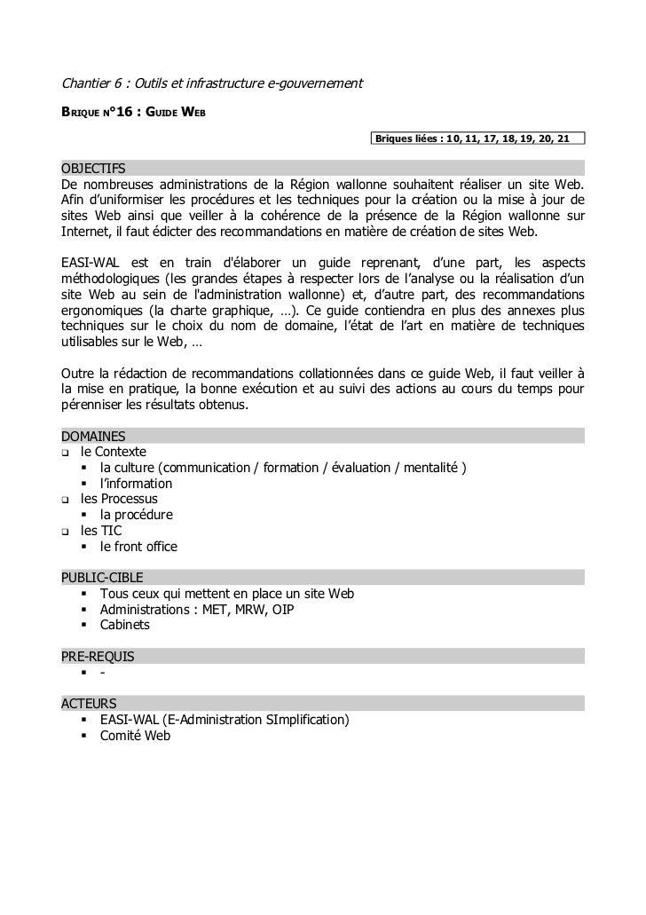 Chantier 6 : Outils et infrastructure e-gouvernementBRIQUE N°16 : GUIDE WEB                                               ...