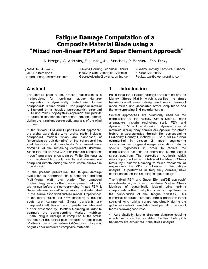 """Fatigue Damage Computation of a           Composite Material Blade using a   """"Mixed non-linear FEM and Super Element Appro..."""