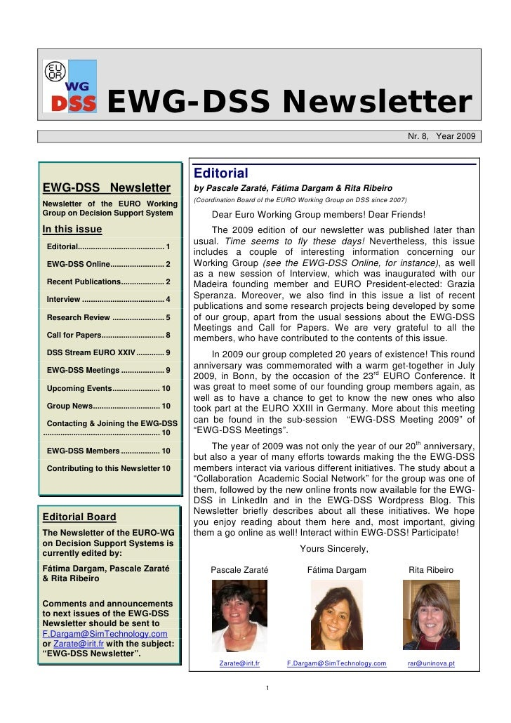 EWG-DSS Newsletter 2009