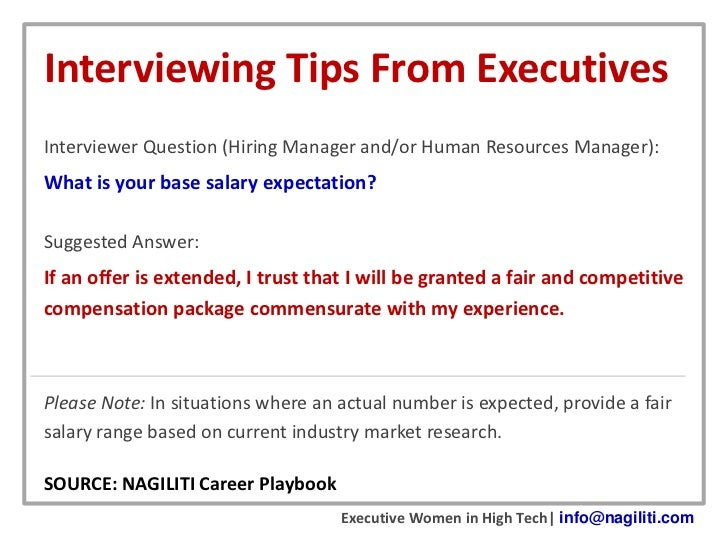 Interviewing Tips From Executives Salary Expectations