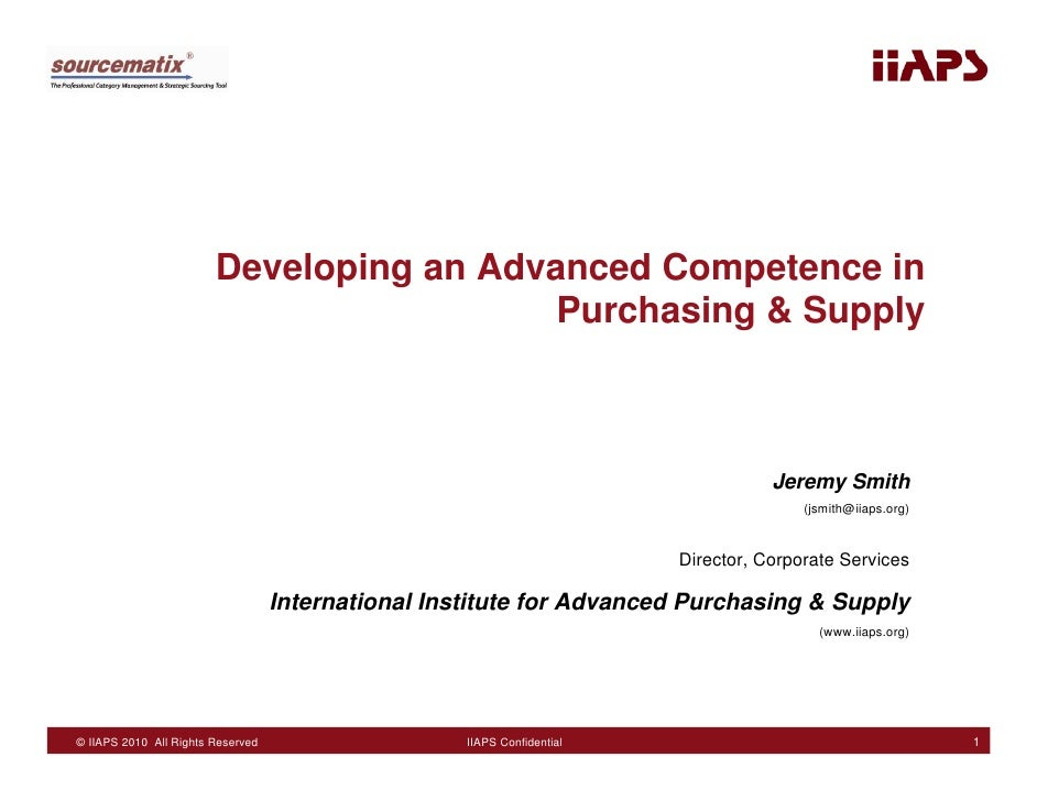 Developing an Advanced Competence in                                           Purchasing & Supply                        ...