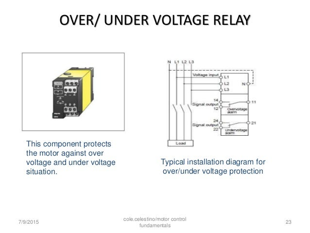 Vag 21 Under Voltage Relay Wiring Diagram : Starters of induction motor and protection equipment