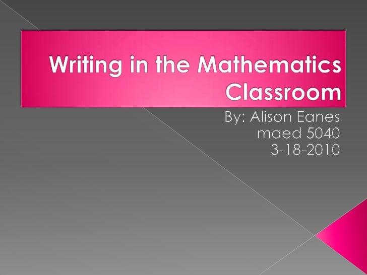 Writing In The Mathematics Classroom