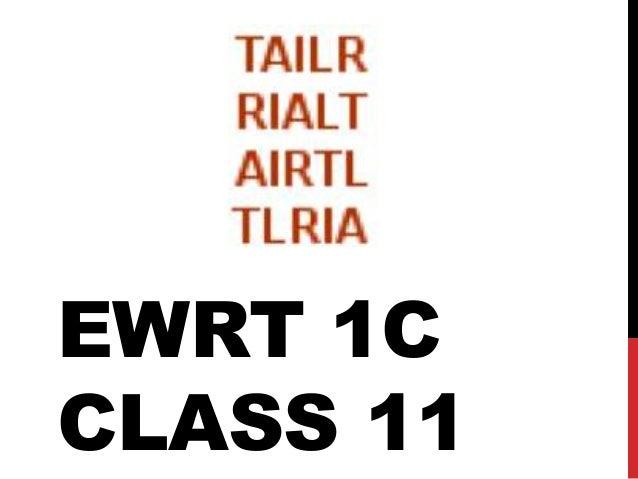 Ewrt 1 c class 11