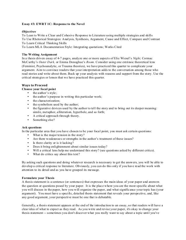 Essay #3: EWRT 1C: Response to the Novel Objectives To Lean to Write a Clear and Cohesive Response to Literature using mul...