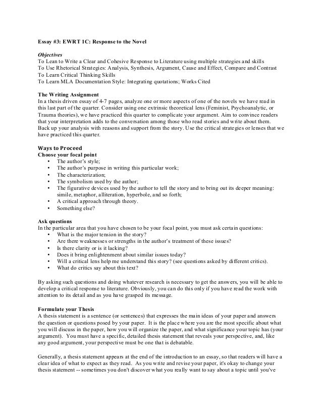 response essay thesis statement