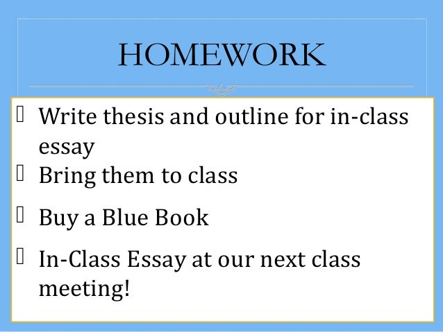 How to write and In-class Essay?