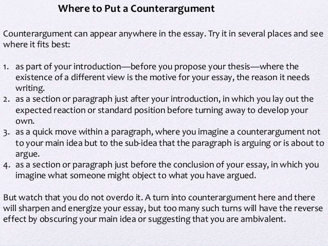 How do I include my counter-argument for my persuasive essay?