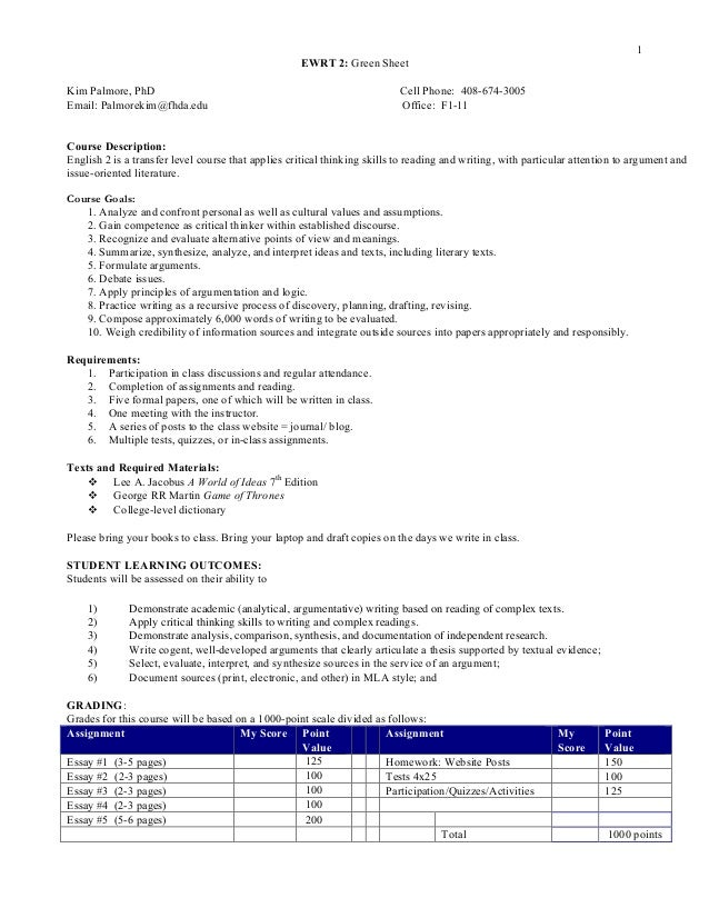 1 EWRT 2: Green Sheet Kim Palmore, PhD Cell Phone: 408-674-3005 Email: Palmorekim@fhda.edu Office: F1-11 Course Descriptio...