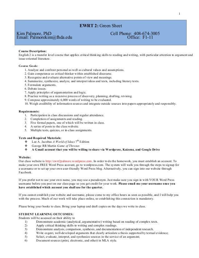 Ewrt 2 green sheet fall 2014