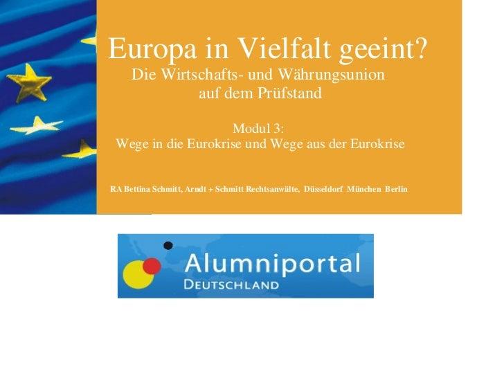 Europa in Vielfalt geeint? Die Wirtschafts- und Währungsunion  auf dem Prüfstand Modul 3:  Wege in die Eurokrise und Wege ...