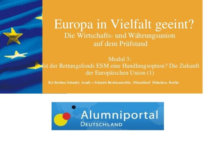 Europa in Vielfalt geeint? Die Wirtschafts- und Währungsunion  auf dem Prüfstand Modul 3:  Ist der Rettungsfonds ESM eine ...