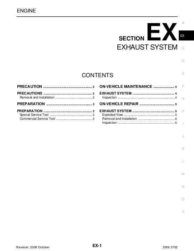 ENGINE  SECTION  EX  EXHAUST SYSTEM  A  EX  C  D  E  CONTENTS  F  PRECAUTION ................................................