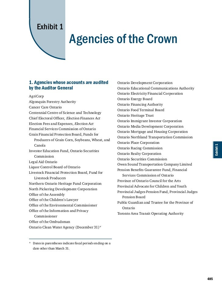 Exhibit 1                            Agencies of the Crown1. Agencies whose accounts are audited                       Ont...