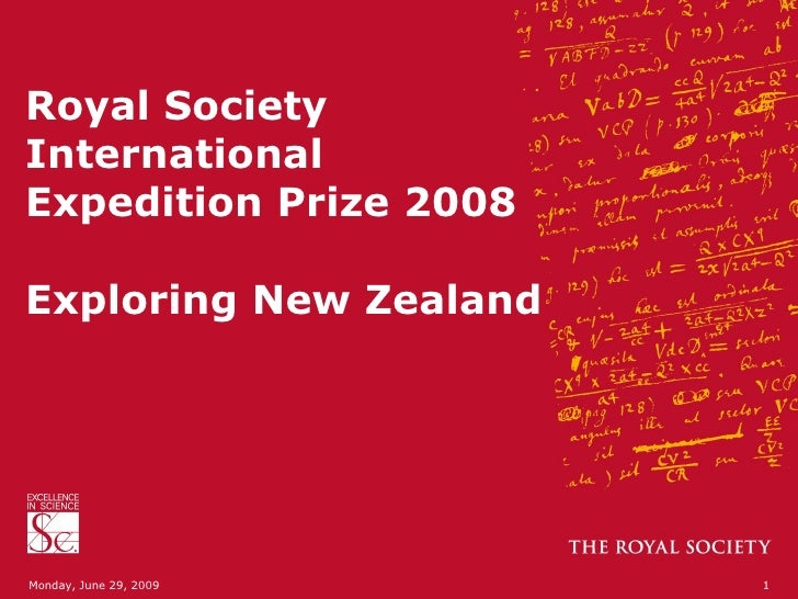 Royal Society: International Expedition Prize - science in New Zealand