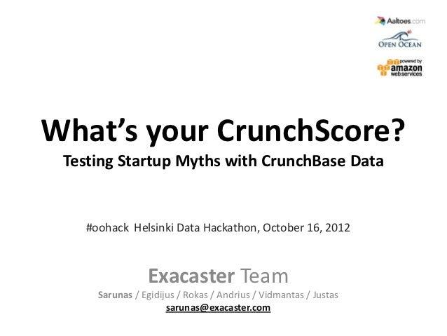 What's your CrunchScore? Testing Startup Myths with CrunchBase Data   #oohack Helsinki Data Hackathon, October 16, 2012   ...