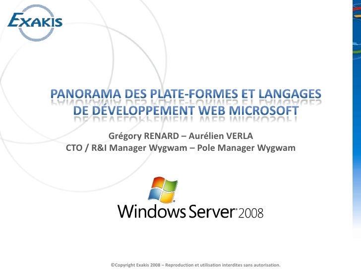 Plate-formes web de Nouvelle génération<br />Grégory RENARD – Aurélien VERLACTO / R&I Manager Wygwam – Pole Manager Wygwam...