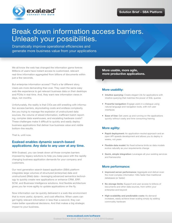 Solution Brief – SBA Platform     Break down information access barriers. Unleash your possibilities. Dramatically improve...