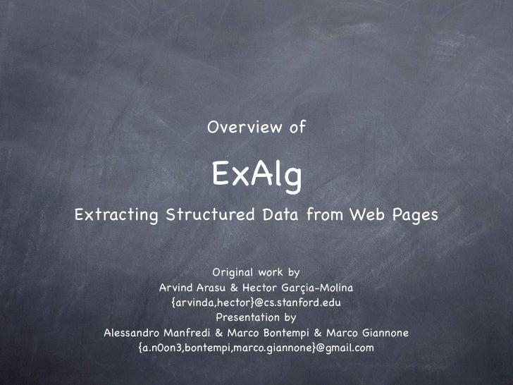 ExAlg Overview