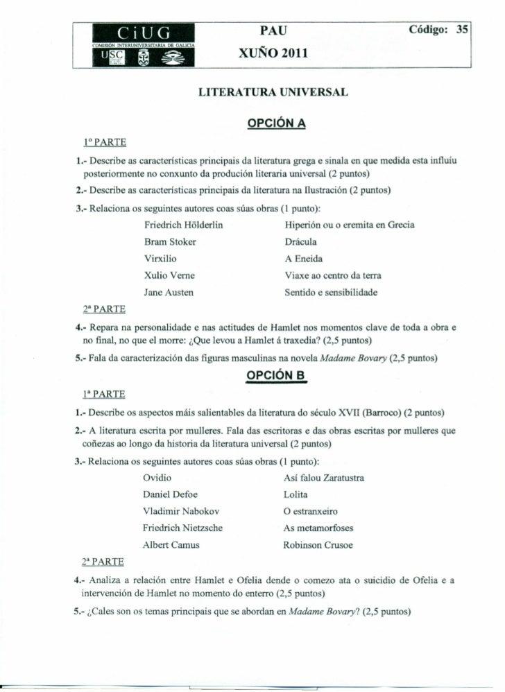 Examen de Selectividad de Literatura Universal, junio de 2011