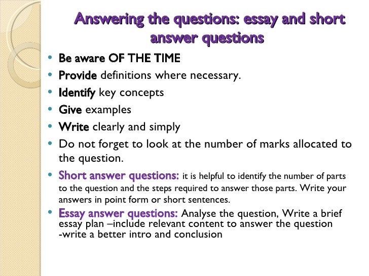 Answering university exam essay questions