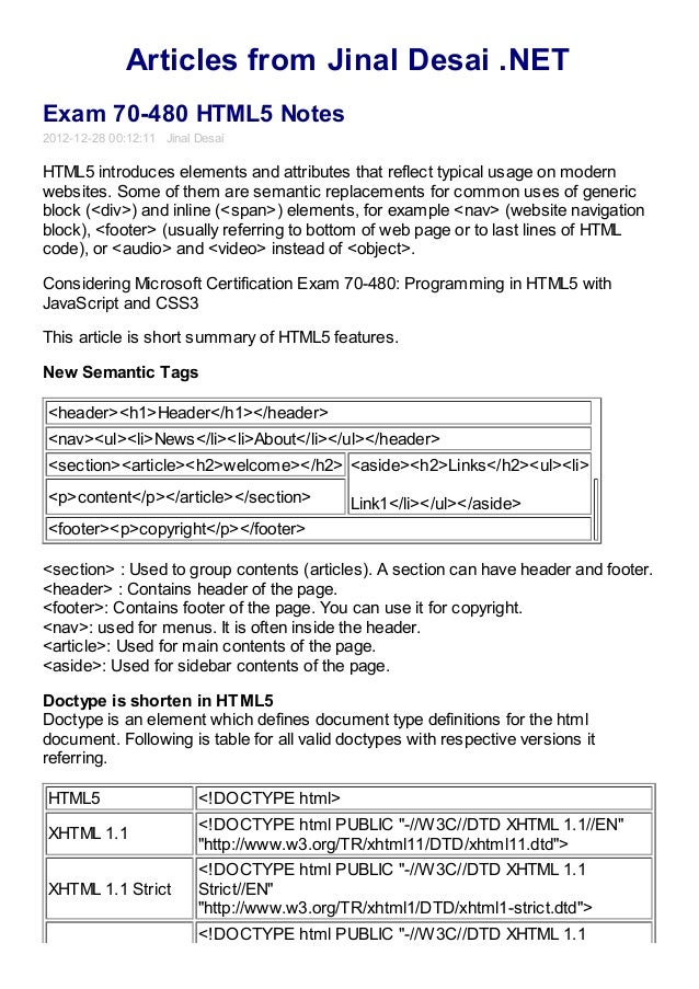 Articles from Jinal Desai .NETExam 70-480 HTML5 Notes2012-12-28 00:12:11 Jinal DesaiHTML5 introduces elements and attribut...