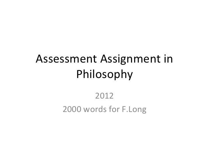 Exam assignment in philosophy