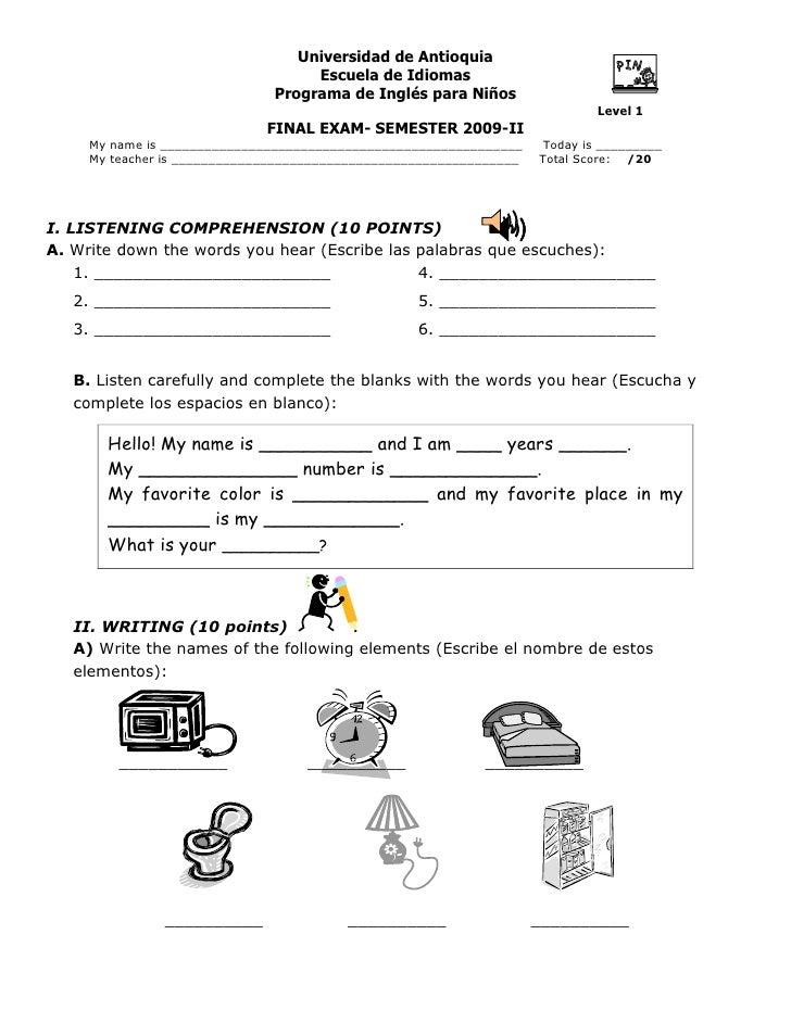 Exam Diana Coronado level 1  2009-2