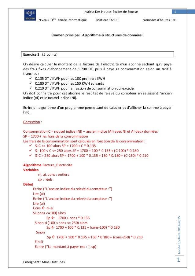 Enseignant : Mme Ouaz Ines AnnéeScolaire2014-2015 1 1Institut Des Hautes Etudes de Sousse Niveau : 1ère année Informatique...