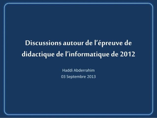 Didactique de l'informatique, Examen 2012, 03-09-2013