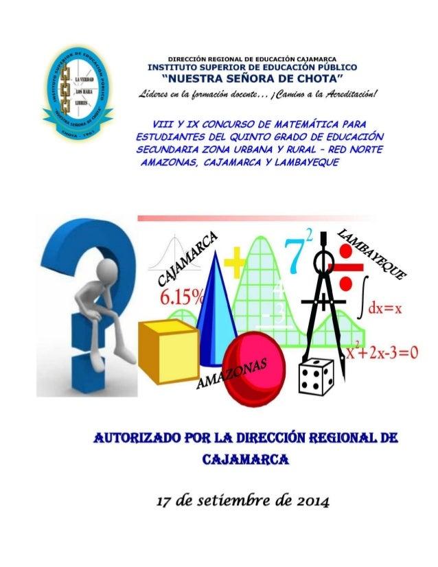 VIII Concurso de Matemática para Alumnos del Quinto Grado de Educación Secundaria Zona Urbana – Red Norte 2014  (Amazonas,...
