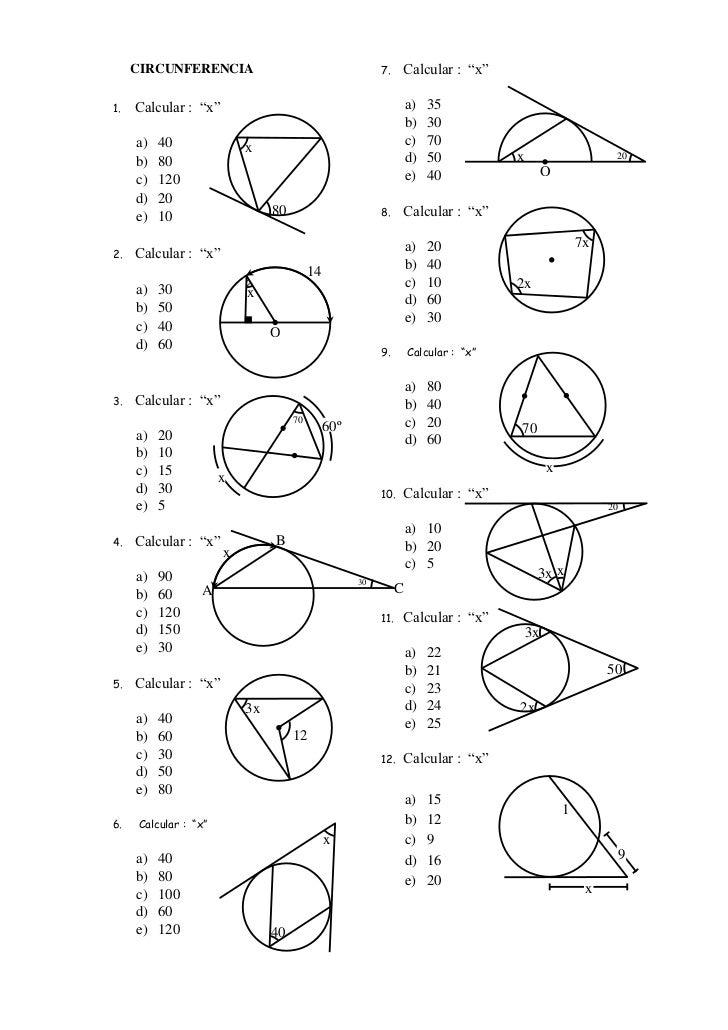 """CIRCUNFERENCIA                                      7.    Calcular : """"x""""1.   Calcular : """"x""""                               ..."""