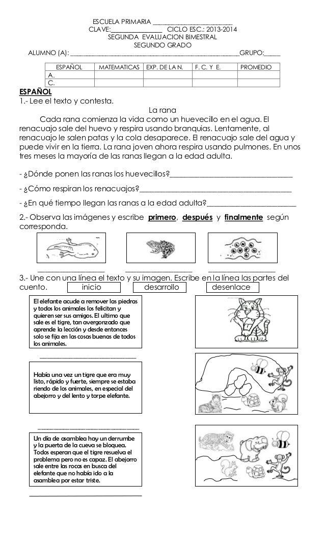 Examen 1 Gdo A Tercer Bimestre Slideshare Examen Bimestre 2 Tercer Grado 2012 2013