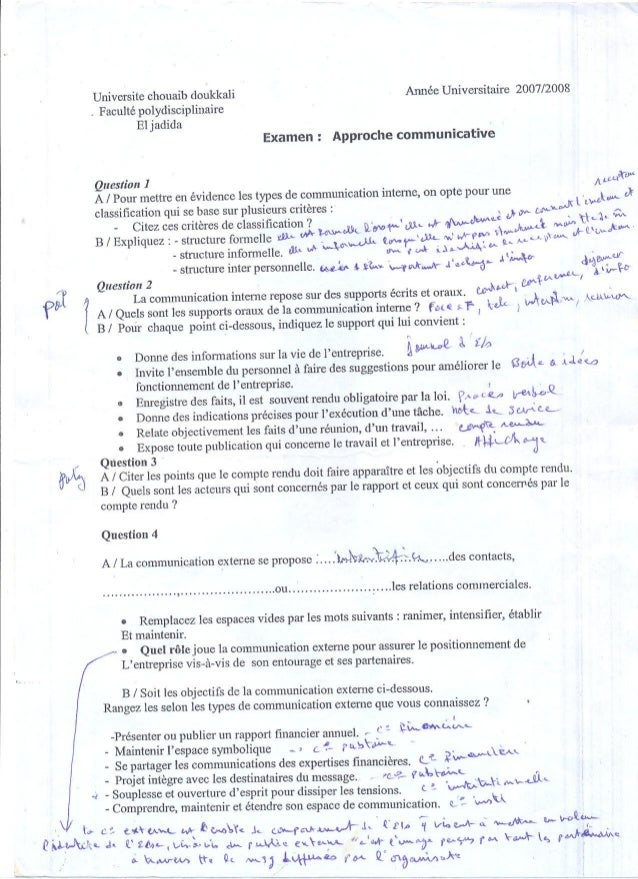 Examen communication (transversal)